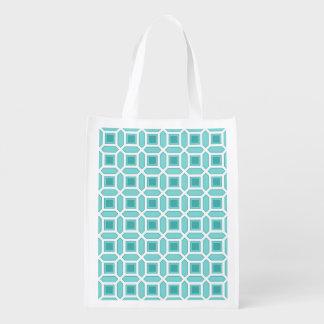Azules turquesas geométricas del modelo del bolsa para la compra