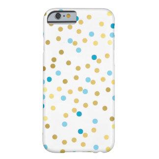 Azules turquesas lindas modernas del oro del funda de iPhone 6 barely there