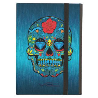 Azules turquesas metálicas con el cráneo colorido