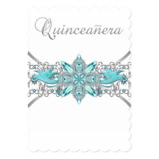 """Azules turquesas Quinceanera de plata Invitación 5"""" X 7"""""""