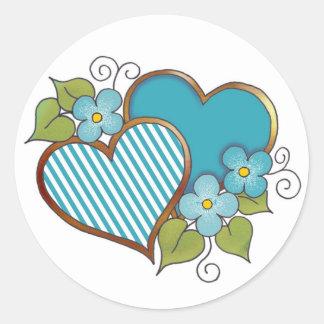 Azules turquesas Stripes-005 Etiqueta Redonda