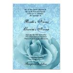 Azules turquesas subiós y boda del damasco invitación 12,7 x 17,8 cm