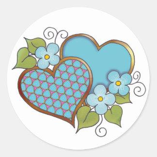 Azules turquesas Tiny-009 Pegatinas Redondas