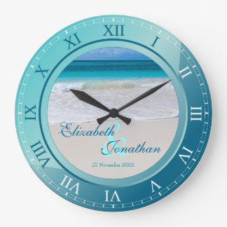 Azules turquesas tropicales del aniversario de reloj redondo grande