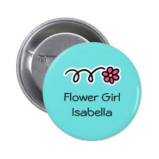 Azules turquesas y botones rosados del florista pin redondo de 2 pulgadas