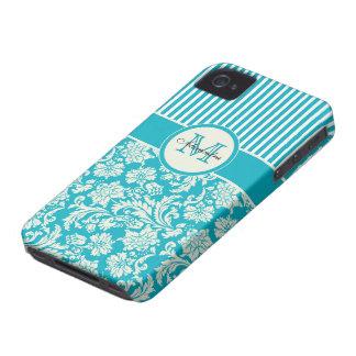 Azules turquesas y damascos y rayas del blanco Case-Mate iPhone 4 carcasa