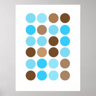 Azules turquesas y poster moderno del modelo de lo