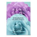"""Azules turquesas y púrpura subiós casando la invitación 5"""" x 7"""""""