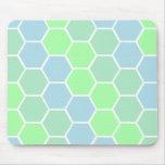 Azules y mosaico verde del hexágono alfombrilla de raton