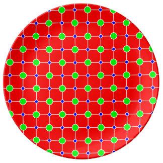Azulverde en la placa roja del diseño de enrejado plato de cerámica