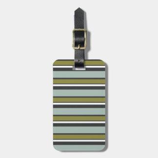 Azulverde gris de las rayas modernas etiquetas maleta