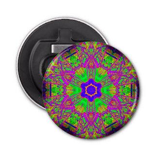 azulverde púrpura de la estrella del seis-punto abrebotellas redondo