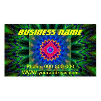 Azulverde rojo de la llama psicodélica del fractal tarjetas de visita