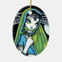 azura, sari, eclectic, henna, hindi, fantasy, green, teal, bindi, fairy, faerie, faery, fae, art, mykajelina, Ornament with custom graphic design
