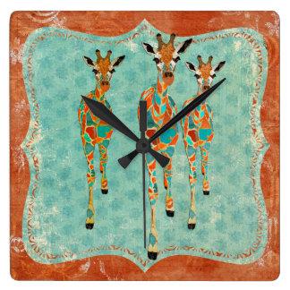 Azure & Amber Giraffes Clock