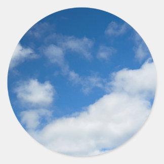 Azure and Clouds Classic Round Sticker