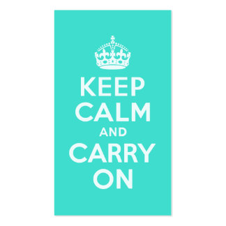 Azure and Turquoise Keep Calm and Carry On Business Card