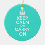 Azure and Turquoise Keep Calm and Carry On Christmas Ornament
