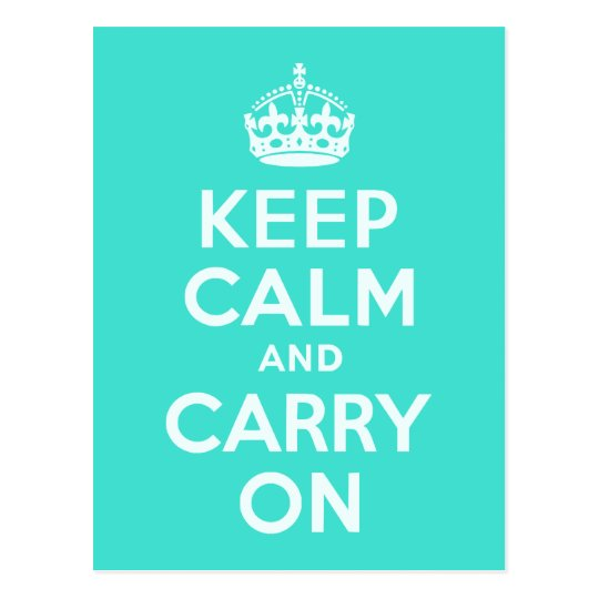 Azure and Turquoise Keep Calm and Carry On Postcard