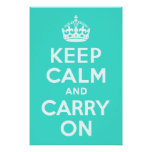 Azure and Turquoise Keep Calm and Carry On Posters