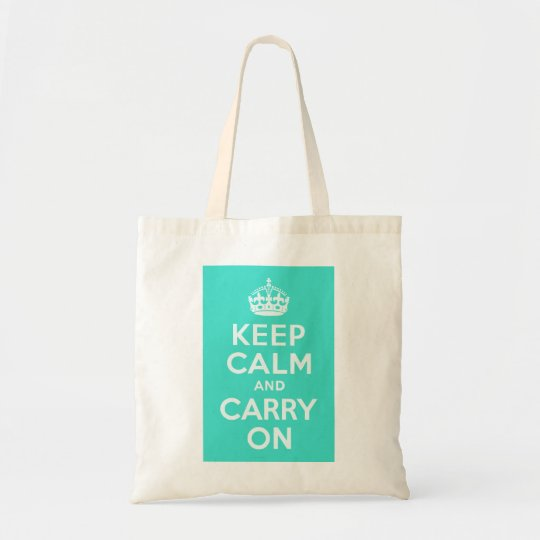 Azure and Turquoise Keep Calm and Carry On Tote Bag