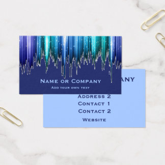 Azure Blue and Green Vertical Ice Effect Stripes Business Card