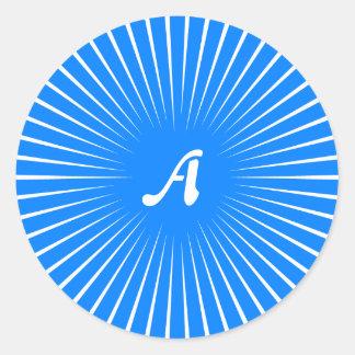 Azure Blue and White Sunrays Monogram Round Stickers
