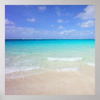 Azure Blue Caribbean Tropical Beach Poster