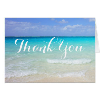 Azure Blue Caribbean Tropical Beach Thank You Card