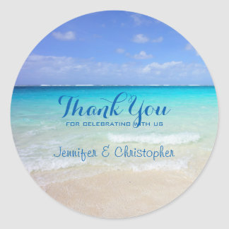 Azure Blue Caribbean Tropical Beach Thank You Classic Round Sticker