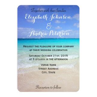 Azure Blue Caribbean Tropical Beach Wedding Card