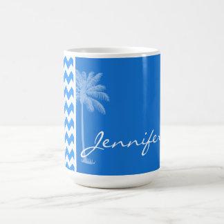 Azure Blue Chevron; Summer Palm Coffee Mug