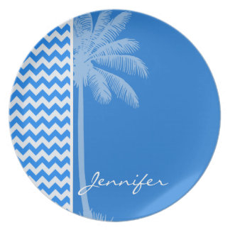 Azure Blue Chevron; Summer Palm Party Plates