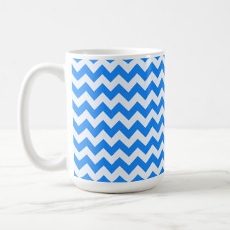 Azure Blue Chevron; zig zag Classic White Coffee Mug