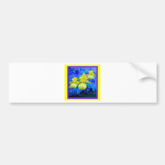 Azure Blue Color Yellow Iris Garden-Sharles Bumper Sticker