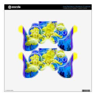 Azure Blue Color Yellow Iris Garden-Sharles Skin For PS3 Controller