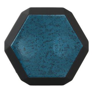 Azure Blue Cork Look Wood Grain Black Bluetooth Speaker