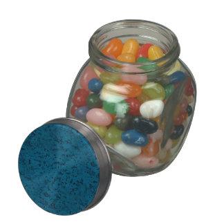 Azure Blue Cork Look Wood Grain Glass Candy Jars