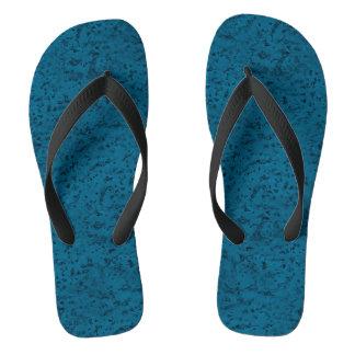 Azure Blue Cork Look Wood Grain Flip Flops