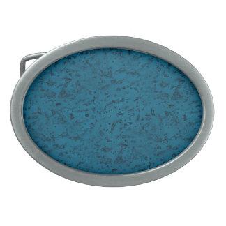 Azure Blue Cork Look Wood Grain Oval Belt Buckle