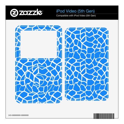 Azure Blue Giraffe Animal Print Skin For iPod Video 5G