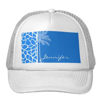 Azure Blue Giraffe Animal Print; Summer Palm Mesh Hats