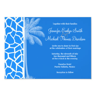 Azure Blue Giraffe Animal Print; Summer Palm Custom Announcements