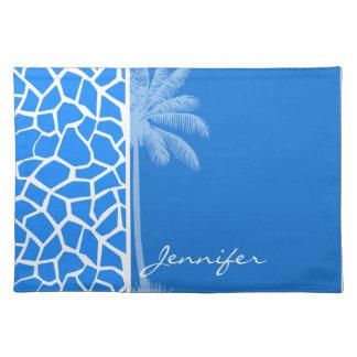 Azure Blue Giraffe Animal Print Summer Palm Place Mats