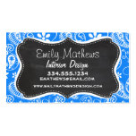 Azure Blue Paisley; Floral; Chalkboard Double-Sided Standard Business Cards (Pack Of 100)