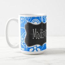 Azure Blue Paisley; Floral; Chalkboard Coffee Mug