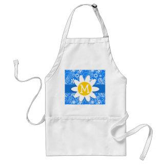 Azure Blue Paisley; Floral; Daisy Adult Apron