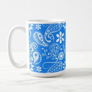 Azure Blue Paisley; Floral Classic White Coffee Mug