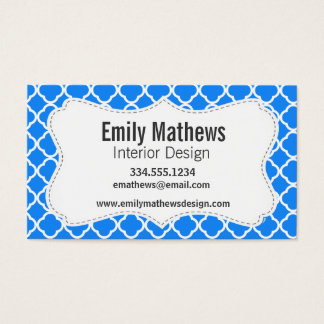 Azure Blue Quatrefoil Business Card