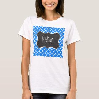 Azure Blue Quatrefoil; Retro Chalkboard T-Shirt